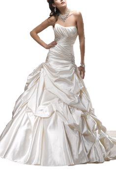 Strapless Chapel Train Ball Gown Satin Wedding Dress