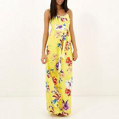 Yellow floral print maxi dress - maxi dresses - dresses - women