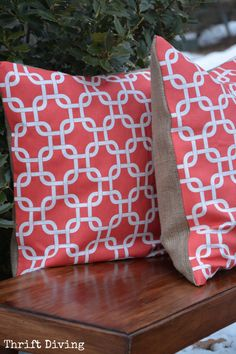 No Sew Pillows... But I will not be using burlap.