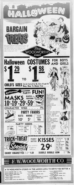 old halloween advertisement woolworths ad