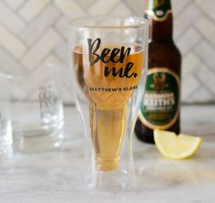 Personalized Double Walled Pilsner Beer Glass is a unique beer glass for your groomsmen gifts. Personalize it with his name too!