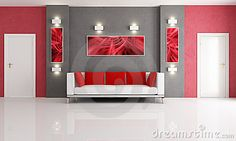 Grey and red living room by Paolo De Santis, via Dreamstime