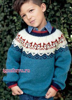 Для мальчика 2-8 лет. Джемпер с «гирляндой лисьих мордочек» на кокетке. Вязание спицами для детей