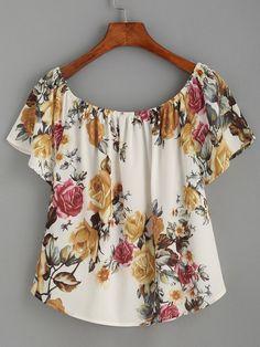 Beige Flower Print Ruffled Off The Shoulder Top