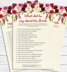 What did he say about his Bride?  Fun Bridal Shower game where Bride tries to guess what her groom said about her.  Floral theme with watercolor flowers in deep red, burgundy, and cream.  Leaves are gold.