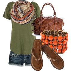 The combination of dark denim and khaki just blows me away. I love the earthly colors, and with orange..ohlala..