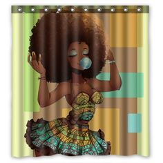 Custom Waterproof Bathroom African Woman Shower Curtain Polyester Fabric Shower Curtain Size 60 X 72 – Home & Living – Home Improvement Ideas and Inspiration - Modern Shower Curtain Sizes, Bathroom Shower Curtains, Fabric Shower Curtains, Curtains Hooks, African Girl, African Women, African Fashion, Waterproof Fabric, Products