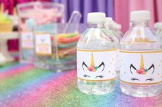 Unicorn Birthday Party Water Bottle Labels - Mommy of a Princess for Girly-Girl Parteas Greensboro Unicorn Themed Birthday Party, Unicorn Birthday Parties, Birthday Party Decorations, 5th Birthday, Birthday Ideas, Bebidas Do Starbucks, Unicorn Printables, Unicorn Baby Shower, Water Party