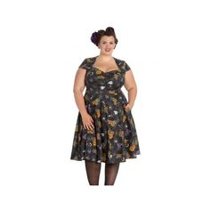 Hell Bunny Harlow 50s Plus Dress (£44) via Polyvore featuring dresses, plus size trapeze dress, hell bunny, rockabilly dresses, plus size rockabilly dresses and pattern dress