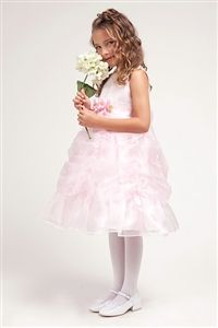 Pretty Pink Satin Flower Girl Dress with Gathered Skirt -