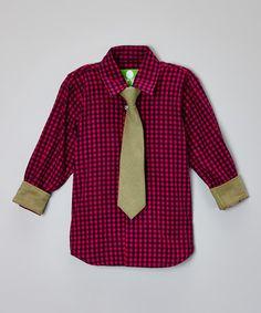 Look at this #zulilyfind! Fuchsia Plaid Button-Up & Gold Tie - Boys by Future Trillionaire #zulilyfinds