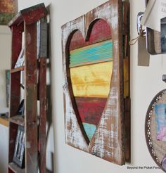 reclaimed wood, painted salvaged wood heart art