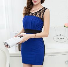 2014 the new women's clothing han edition OL package hip sexy cultivate one's morality render big yards Sleeveless lace dress
