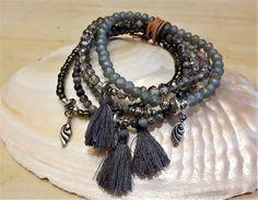 MILA - 5-er Perlenarmband - grau Crochet Necklace, Jewelry, Fashion, Semi Precious Beads, Wristlets, Grey, Moda, Jewlery, Jewerly