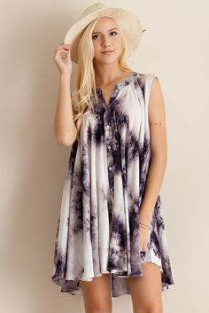 Navy and white tie dye print rayon flare button down shirt dress.