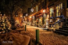 what else could we find in the cutest little Christmas town? by homes_ Christmas Town, Christmas Scenes, Magical Christmas, Merry Little Christmas, Noel Christmas, Outdoor Christmas, Beautiful Christmas, Winter Christmas, Christmas Lights