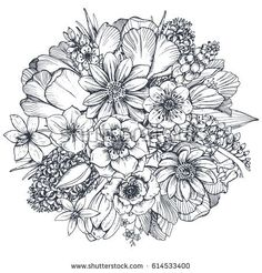 Floral composition. Bouquet with hand drawn spring flowers and plants. Monochrome vector illustration in sketch style.