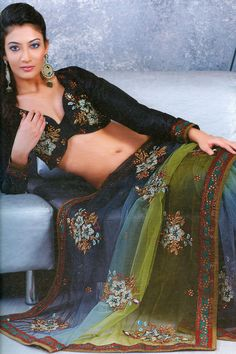 Steel Blue and Olive Green Net Wedding and Festival Saree