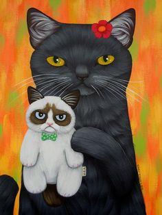 Grumpy Doll by Cary Chun Lee Cool Cats, I Love Cats, Crazy Cats, Frida Art, Popular Art, Cat Colors, Cat Drawing, Grumpy Cat, Beautiful Cats