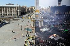 Independence Square in Kiev, Ukraine. April 2009 on the left and feb 20, 2014 on right. crazy!