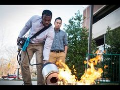 "Pump Up the Bass to Douse a Blaze: Mason Students' Invention Fights Fires ""The fire extinguisher uses low-frequency sound waves to douse a blaze. Engineering seniors Viet Tran and Seth Robertson now."