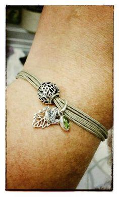PANDORA Khaki Coloured Cord Bracelet with Pretty Forest Trinity Charm.
