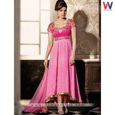 Priyanka Chopra In Pink Colored Designer Anarkali Salwar Suit#Womansvilla