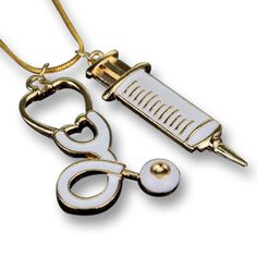 Stethoscope and Syringe Charm Necklace