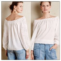 ✨Cadena Top✨ ✨Beautiful sophisticated peasant top by Leifsdottir.✨Woven cotton-viscose.✨Off the shoulder silhouette.✨Very light weight and it's so cute!✨Gorgeous lace details around the neck & sleeves(3/4 sleeves).✨ Anthropologie Tops Blouses