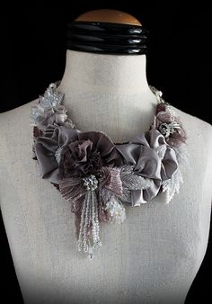 """""""You Look Mauvelous"""" mixed media statement necklace by carlafoxdesign on Etsy"""