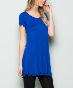 Another great find on #zulily! Royal Blue Scalloped-Hem Scoop Neck Tunic #zulilyfinds