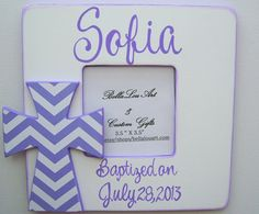 Baptism Gift Hand painted personalized kids purple and white chevron cross picture frame