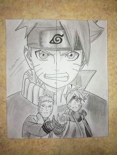 Naruto et Boruto - by Naruto Anime Naruto, Kakashi Naruto, Art Naruto, Naruto Games, Naruto Sketch, Naruto Drawings, Naruto Comic, Naruto Shippuden Sasuke, Anime Sketch