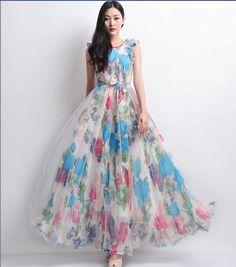 White Tulle Blue Floral Print A-line Dress Wedding Bridesmaid Full Pleated Skirt Maxi Ball Gown Bohemian Boho Beach Tunic Holiday Prom Party on Etsy, $169.00