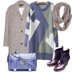 Blue Long Sleeve Geometric Pattern Loose Sweater