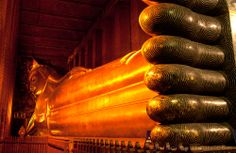 Reclining Buddha, Bangkok - Thailand: explore Bangkok the way, the locals do-by skytrain or by river- taxi- and visit some exciting sights !