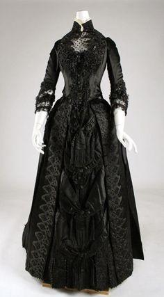 Late Victorian black evening dress
