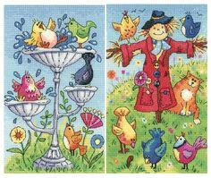 Bird Bath & Scarecrow - Heritage Crafts cross stitch
