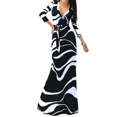Sexy Package Hip Maxi Dress Fashion V-neck Long Sleeve Printed Long Dress desigual Women Party Dresses vestido de festa ONY8785