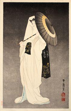 Taniguchi Kokyo ~ 鷺娘の精 (The Spirit of the Heron Maiden)(1864-1915)