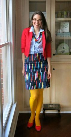 """Love the fun play on """"pencil skirt""""! It's fun when fashion is witty! I would totally wear this on a day when I felt like emphasizing the """"creative professional"""" nature of my work.but not with the bright yellow tights lol Art Teacher Outfits, Teacher Wear, Winter Teacher Outfits, Teacher Wardrobe, Teaching Outfits, Teacher Style, School Outfits, Teacher Fashion, School Teacher"""