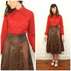 1970s Red Dagger Collar Long Sleeved Shirt by AtypicalGirlVintage