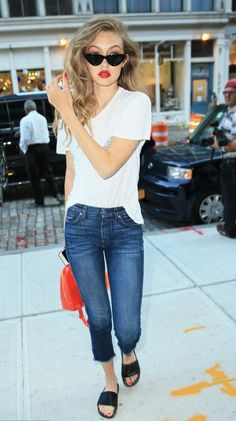 jeans top slide shoes summer outfits purse sunglasses gigi hadid model off-duty…