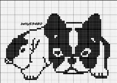 grille bouldogue Beaded Cross Stitch, Cross Stitch Charts, Cross Stitch Designs, Cross Stitch Embroidery, Embroidery Patterns, Cross Stitch Patterns, Filet Crochet Charts, Knitting Charts, Knitting Stitches