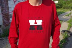 90's tommy hilfiger th logo long sleeve red t-shirt