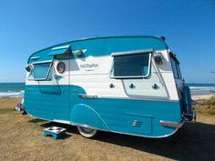 "Gorgeous! 1956 Southland Runabout ""Get Rhythm"" Blue   Tiny trailer - vintage camper - travel caravan <O> ."