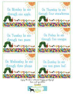 FREE very hungry caterpillar food labels. polkadots and puppies: { grant's birthday party! Baby Birthday, First Birthday Parties, Birthday Party Themes, First Birthdays, Birthday Ideas, Birthday Tags, Birthday Banners, Kid Parties, Birthday Celebrations