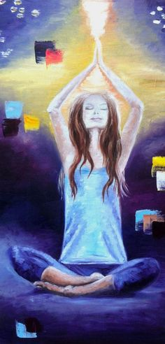 Original from Artist. Yoga Poses Meditation Painting. Oil on Canvas 12x24 inch. For sale on ebay.com with starting price $285.00