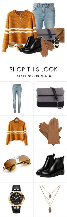 """""""Street Style"""" by the-special-something ❤ liked on Polyvore featuring Yves Saint Laurent, 7 Chi, Isotoner and Versace"""