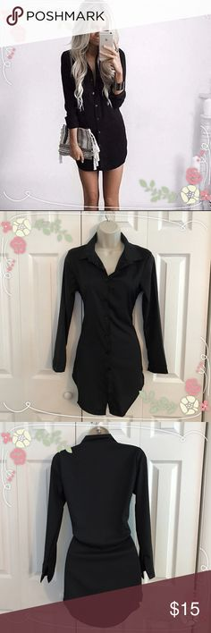 Long Sleeve Casual Shirt Dress New item! Black. Long Sleeve Casual Shirt Dress. Very pretty! Silk. Size is Medium ( but fits more like a small to me). For measurements please see below so you can see how it would look on you! Smoke free pet free home!                                 Measurements -BUST - 34 inches - WAIST -32 inches - TOP TO BOTTOM - 32 inches SLEEVE - 10 inches Dresses Long Sleeve